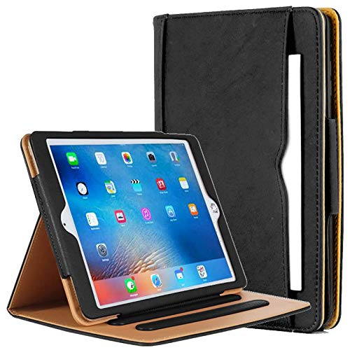 """Universal Executive Quality Black & Tan Leather Smart Flip Stand Case Cover for Apple iPad 10.2"""" 2019 / iPad 10.2"""" 2020 Edition/Air 3 10.5"""" 2019 / Pro 10.5"""" 2017 Version - Famous Design"""