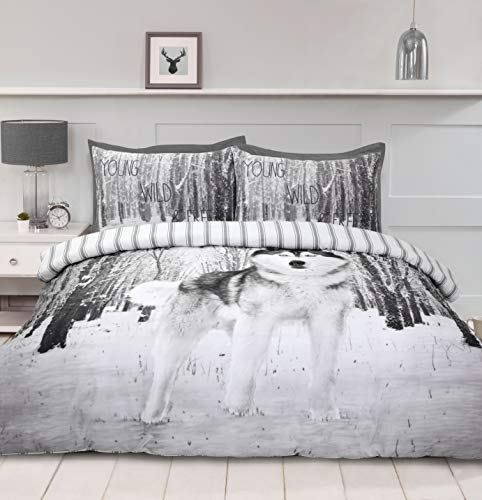 Night Comfort 3D Wolf Print Duvet Cover Cotton Blend Bedding Set With Pillowcases (Double)