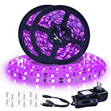 Ontesik Black Light Strip, 40ft/12m Flexible UV Black Light with LED kit, 720lamp Beads, 12V UV Black Light, Indoor Dance, Bedroom Decoration,Stage, Birthday, Wedding, Dark Party,not Waterproof