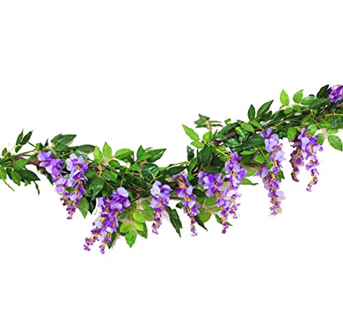 Sunrisee 2 Pcs Artificial Flowers 6FT Silk Wisteria Ivy Vines Hanging Flower Greenery Garland for Wedding Party Home Garden Wall Decoration, Purple