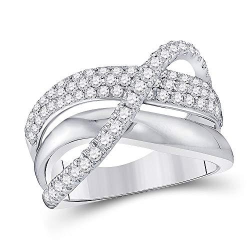 Anillo de oro blanco de 14 quilates con triple fila de diamantes redondos para mujer de 1,00 quilates.