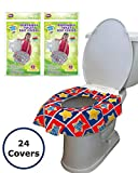 24 Large Disposable Toilet Seat Covers - Portable Potty Seat Covers for Toddlers, Kids, and Adults by Mighty...