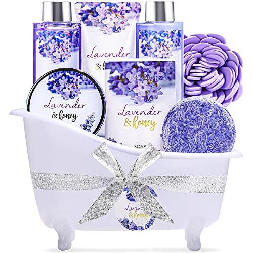 Bade Geschenkset, Body & Earth 8-teiliges Badeset Duft Lavendel und Honig - beinhaltet Schaumbad, Duschgel, Körperlotion, Badesalz und Mehr.geburtstagsgeschenk für frauen, körperpflege damen