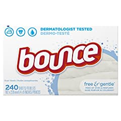 Hypoallergenic, free of any dyes or perfume Dermatologist tested, mild on skin Helps Reduce Wrinkles so you can Iron Less. Controls static cling in fabrics and helps repel lint & hair. Toss in two Bounce dryer sheets for your average loads to iron le...