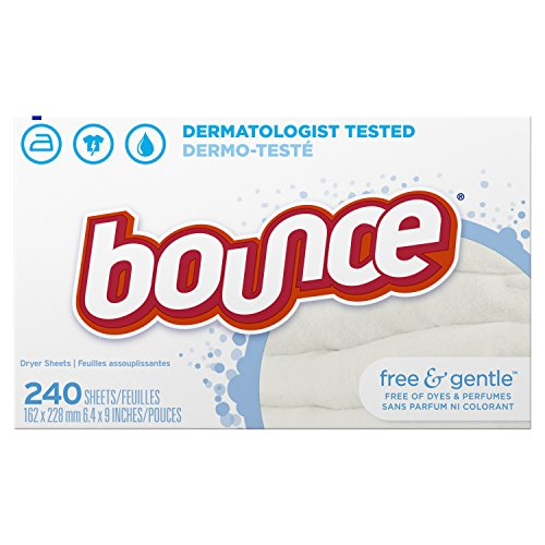 Bounce Fabric Softener Sheets, Free & Gentle, 240 Count, White