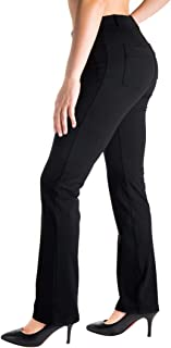 Belt Loops, Women's Petite/Regular/Tall Dress Pant Straight Leg Yoga Work Pants Slacks Back Pockets Office Commute Travel