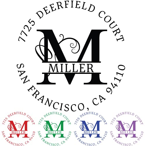 Custom Address Stamp, Self-Inking Round Monogram Address Stamp, Personalized Address Stamp