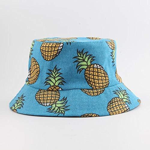 Eimer Hut Sommer Panama Ananas Gedruckt Eimer Hut Männer Angeln Fischer Hut Frauen Mädchen Mütze 55-58Cmhead Blau