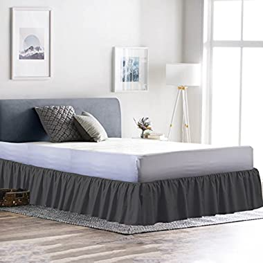 Rajlinen Ruffle/Gathering Bed Skirt Genuine Poly Cotton Bed Wrap with Platform (+15 Inch Drop)- Easy Fit Gathered Style 3 Sided Coverage King, Dark Grey