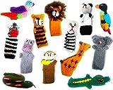 Handmade Knit Finger Puppet 12 Piece Set Children Kids Toddler School Educational Story Telling Play...