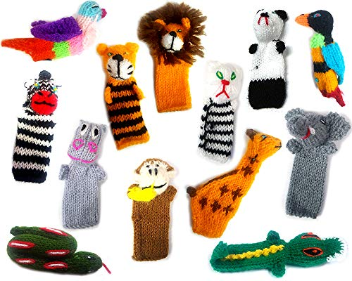 Handmade Knit Finger Puppet 12 Piece Set Children Kids Toddler School Educational Story