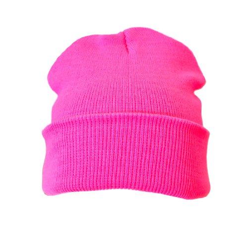 Komonee Neon Pink Lässige warme strickmütze (Packung mit 1)