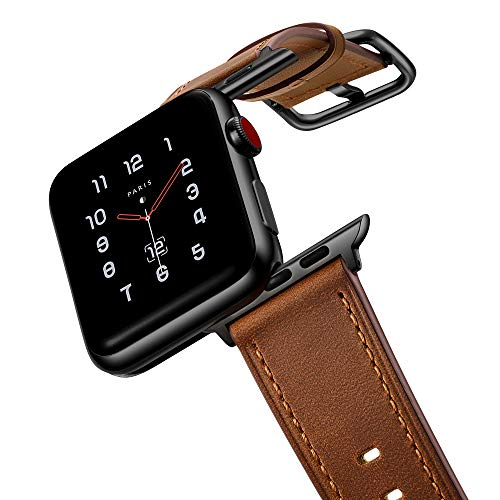 amBand Leather Band Compatible with Apple Watch 38mm 40mm, Genuine Leather Vintage Replacement Strap Classic Bands Buckle Compatible with iWatch Series 5/4/3/2/1 Retro Brown