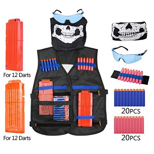 Diealles Chaleco Táctico Kit para Pistolas Nerf Serie Elite Strike, Incluso Kids Elite Chaleco+40PCS Dardos +Protección Gafas+2PCS Cargadores de Balas para 12 Dardos+Pulsera de Balas+Pañuelo