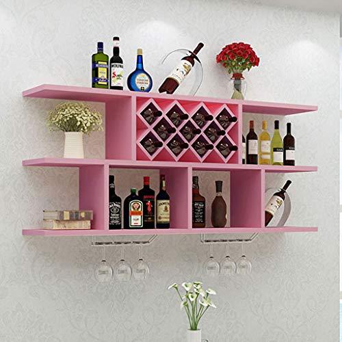 FENGFAN-Weinregal Restaurant Display Rack Wandbehang Cup Holz kreative Schmuck (Farbe : Pink, Size : 100 * 69.8cm)