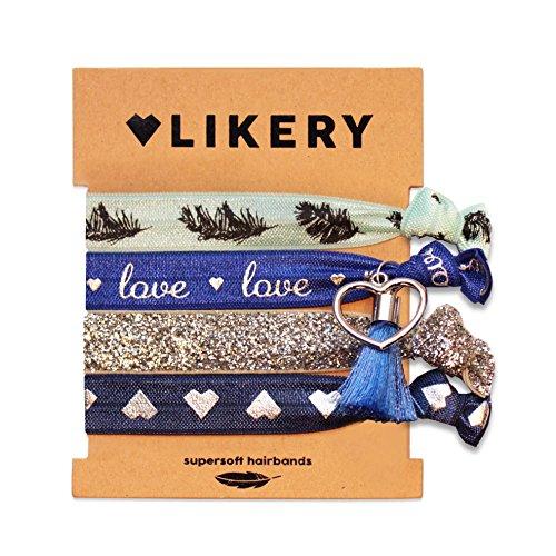 Supersofte Haargummis   Armbänder   Ideales Geschenk   Set für Damen Kinder Mädchen   Haargummi bedruckt   Armband schimmernder Stoff mit Glitzer und süßen Anhängern   Farbe: Ice