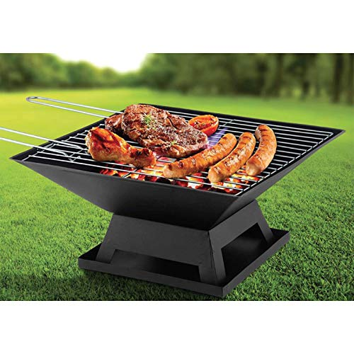 SA Products Square Fire Pit - Heat-Proof Steel BBQ Grill for Outdoor Garden, Patio, Decking - Firepit Brazier for Camping, Picnic, Barbecue Party - Includes Safe Mesh Cover, Ash Tray, and Poker Tool