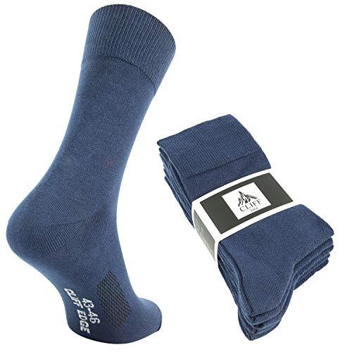 Cliff Edge 5 Paar hochwertige Premium Herren-Damen-Socken   atmungsaktive Socken aus gekämmter Baumwolle (43-46, Navy Blue - 5 Paar)