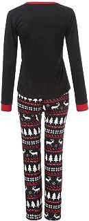 Christmas Lady Long Sleeve Cartoon Christmas Hat Print Top + Pants Two-Piece Set Home Service Parent-Child Wear Mom Black