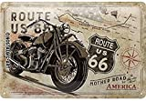 Nostalgic-Art Cartel de chapa retro Route 66 – Bike Map – Idea de regalo para los fans de la Ruta 66, metálico, Diseño vintage decorativo, 20 x 30 cm