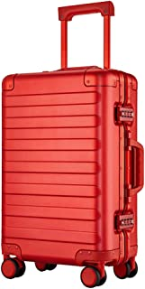 GLJJQMY Luggage Trolley Trolley Universal Wheel Aluminum Frame Suitcase 20 Inch Business Boarding Password Suitcase Trolley case (Color : Red, Size : 20 inch)