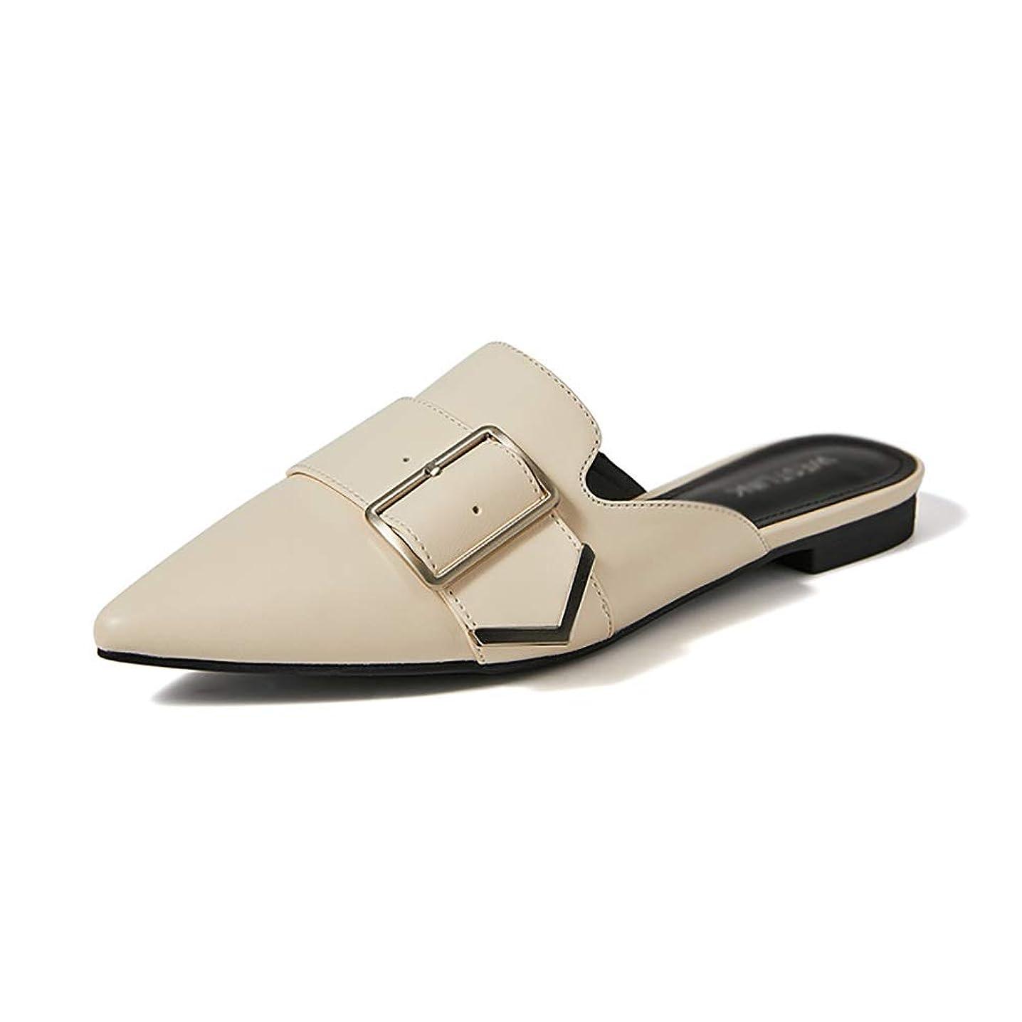 スクリュー安らぎガウンYXX- 女性のラバのスライドの靴、ローファーの女性の背中が大きく開いスリップのつま先のスリッパの靴 (色 : 白, サイズ さいず : 39)