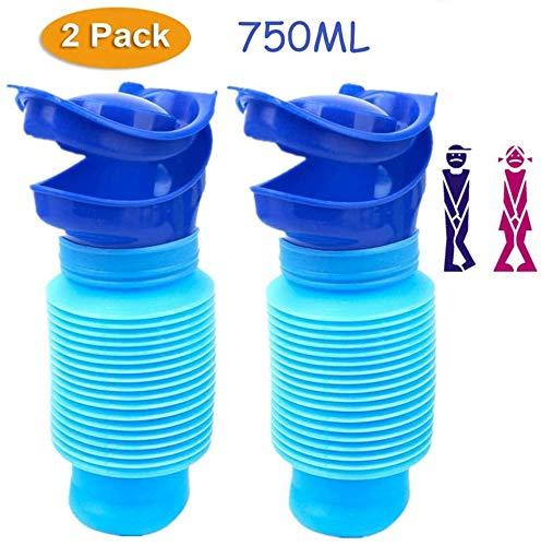 Orinal Urinario Portátil & 50 Guantes Desechables, Unisex Emergencia Urinario Cubo para Viajes para Adulto y Niños 750 ml (Grey+50 Guantes Desechables), Azul, Pack de 2