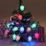 ToDIDAF Wasserdichtes Lichterkettenlicht außen LED-Tannenzapfen Batteriebetriebene Lichterketten für Outdoor Indoor Weihnachten Hochzeit Party Weihnachtsbaum Garten Fenster Deko (10M, 80...