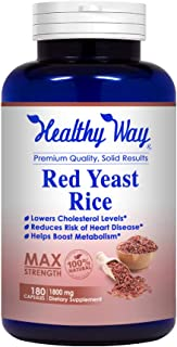 Healthy Way Best Red Yeast Rice 1800mg 180 Capsules (Citrinin Free) - Dietary Supplement Powder Pills to Support Cardiovas...