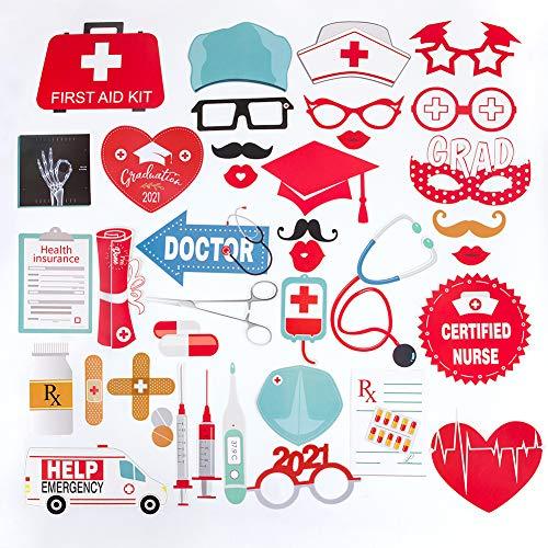 SUNBEAUTY Krankhaus Foto Requisiten Medizin Fotoaccessoires 38 Photo Booth Props medizinische Abschlussfeier 2021 Arzt Arztin Krankenschwester Pfleger Graduierung