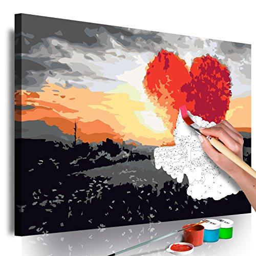 murando - Malen nach Zahlen Baum Herz Landschaft 60x40 cm Malset mit Holzrahmen auf Leinwand für Erwachsene Kinder Gemälde Handgemalt Kit DIY Geschenk Dekoration n-A-0380-d-a