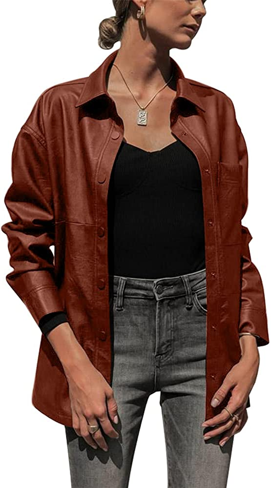 ZIWOCH Inventory cleanup selling sale Women's Faux Leather Jacket Shirt Long Sleeve Casual Moto Manufacturer direct delivery