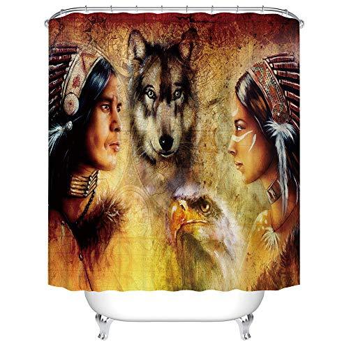 BWBJJ Duschvorhang Indianer und Wolfhawks 150x180 cm Wasserdicht Antischimmel Polyester Badezimmer Gardinen mit 12 Haken
