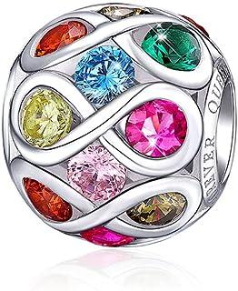 FOREVER QUEEN Charms et Breloques pour Femme Argent Sterling Infini Amour Perle Incrusté Multicolore Zircon Cubique pour B...