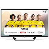 CHiQ Televisor Smart TV LED 42 Pulgadas, FHD, HDR10/HLG, Android, WiFi, Bluetooth, Google Assistant, Netflix, Prime Video, 3 x HDMI, 2 x USB - L42G6F