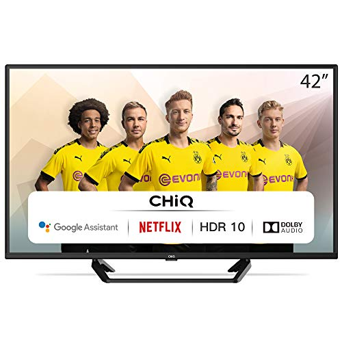 CHiQ L42G6F Neuste Version Modelljahr 2020 | TV 42 Zoll Full Hd Smart TV (105cm) Fernseher Rahmenlos Android TV Smart TV/Android 9.0-Google Assistent/Sprachsuche-2K FHD(1920*1080) | HDR10-Dolby audio