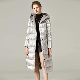 Coats and Jackets, Ladies Down Jackets,Long Over-The-Knee Loose Hooded Padded Jacket,Silver,M