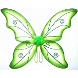 Cutie Collection Costume Fairy Wings - Large (34in) Pixie Princess Dress up Wings (Adult, Black) (Green)
