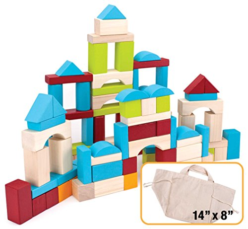 Imagination Generation 100 Piece Natural Wooden Building Block Set with Carrying Bag – Children