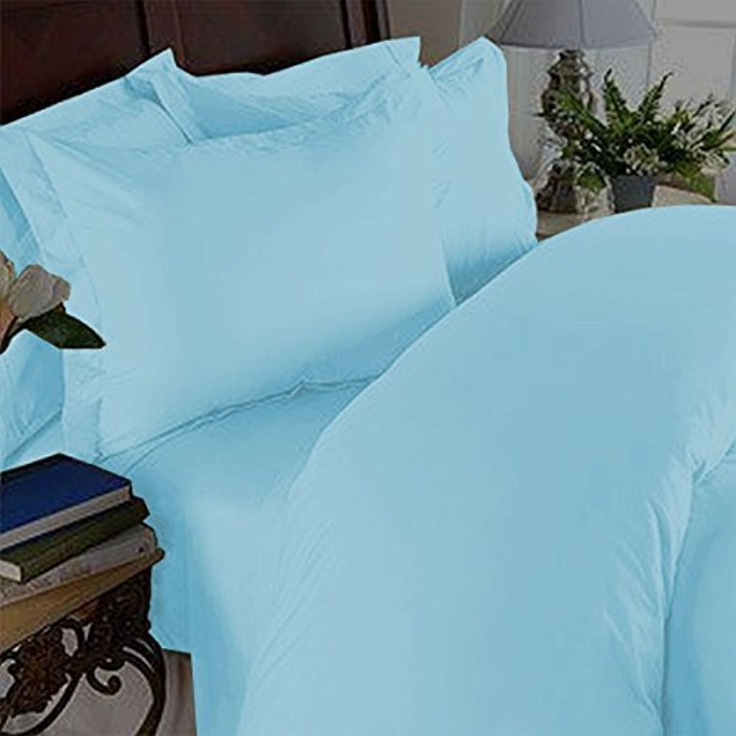 Elegant Comfort 3 Piece 1500 Thread Count Luxury Ultra Soft Egyptian Quality Coziest Duvet Cover Set, Full Queen, Aqua lumière bleu by Elegant Comfort