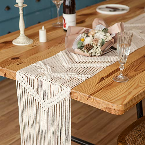 Mkono Macrame Table Runner Woven Wedding Table Decor Handmade Boho Table Linen with Tassels Vintage Farmhouse Home Decoration for Dining Room Wedding Kitchen Party Christmas Ornaments, 12 x 80 Inches