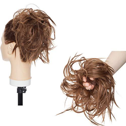 XXL Postiche Cheveux En Caoutchouc Chouchou Chignons VOLUMINEUX Bouclés Ou Chignon Décoiffé Extension a clip Cheveux Naturel Brun clair