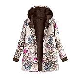 iHENGH Damen Herbst Winter Bequem Mantel Lässig Mode Jacke Frauen Womens Winter Warm Outwear Blumendruck Mit Kapuze Taschen Vintage Oversize Mäntel(Pink, EU-44/CN-M)