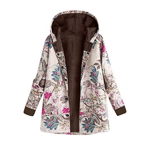 Kanpola Winterjacke Damen Jacke Steppjacke Winter Warme Gedruckte Outwear Frauen Kapuzenjacke Parka Jacke Langram Sweatjacke mit Kapuze Mantel (EU-36/CN-M, A06-Pink)