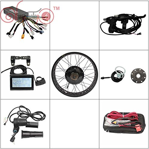 HALLOMOTOR 36V1200W 48V 1500W Fat Tire Electric Bike Rear Wheel Conversion Kits Best Sell Product,Rim kit Color: Black,Golden,Blue,RED