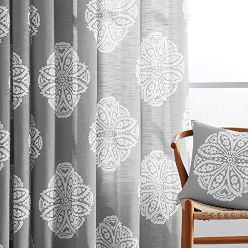"Treatmentex Print Grey-White Sheer Curtains 84"" Long for Bedroom Vintage Medallion Semi-Sheer Window Curtain Draperies for Living Room 2pc"