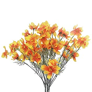 "cn-Knight Artificial Flower 6pcs 27"" Long Stem Silk Coreopsis Calliopsis Galsang Fake Daisy Chrysanthemum for Wedding Bridal Bouquet Bridesmaid Groomsman Home Décor Office Centerpieces(Orange)"