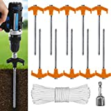ABCCANOPY Ground Anchor Screw Kit, Drillable Garden Shed Stakes, Ideal for Anchoring Trampoline, Tree, Swing, Bonus Adapter, tie-Downs, Yellow