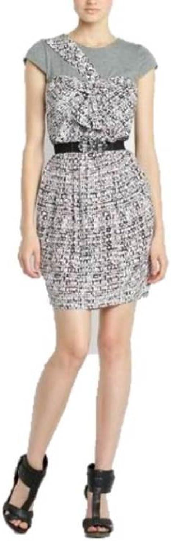 BCBG Max Azria Abstract Shirt Belt Dress Abstract, Smoked Grey, S