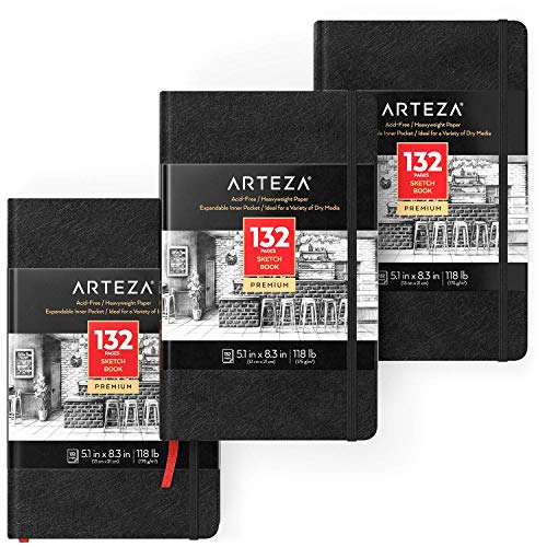Arteza 5.1x8.3 Sketch Book, Pack of 3 Notebooks, 100 Pages per Pad, 118lb/175gsm, Hardcover Journals with Bookmark Ribbon, Expandable Inner Pocket, and Elastic Strap, for a Variety of Dry Media
